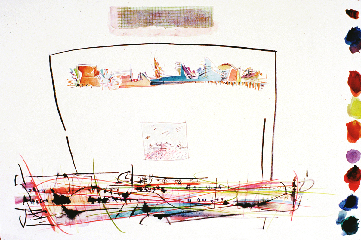THREE WORLDS Mixed Media on Paper 22 x 44 inches (58 x 111 cm)