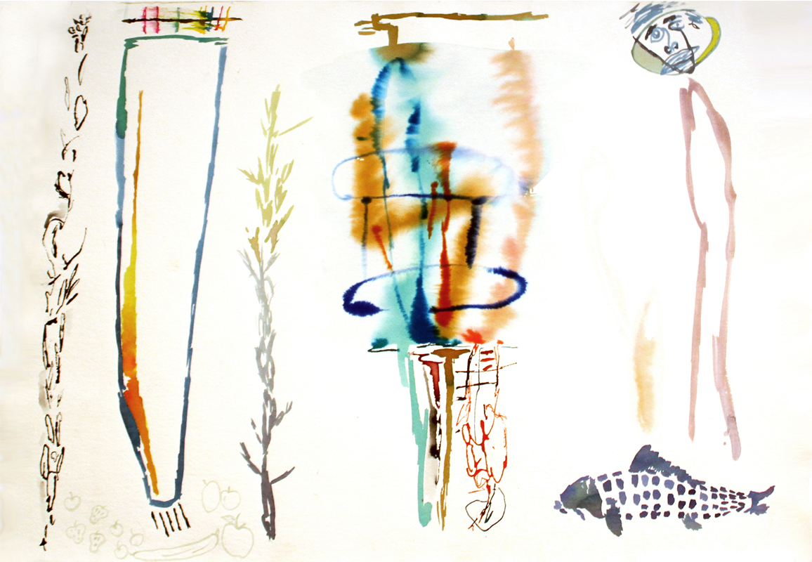 GIVE THE MAN A FISH  Mixed Media on Paper 22 x 30 inches (56 x 76 cm)