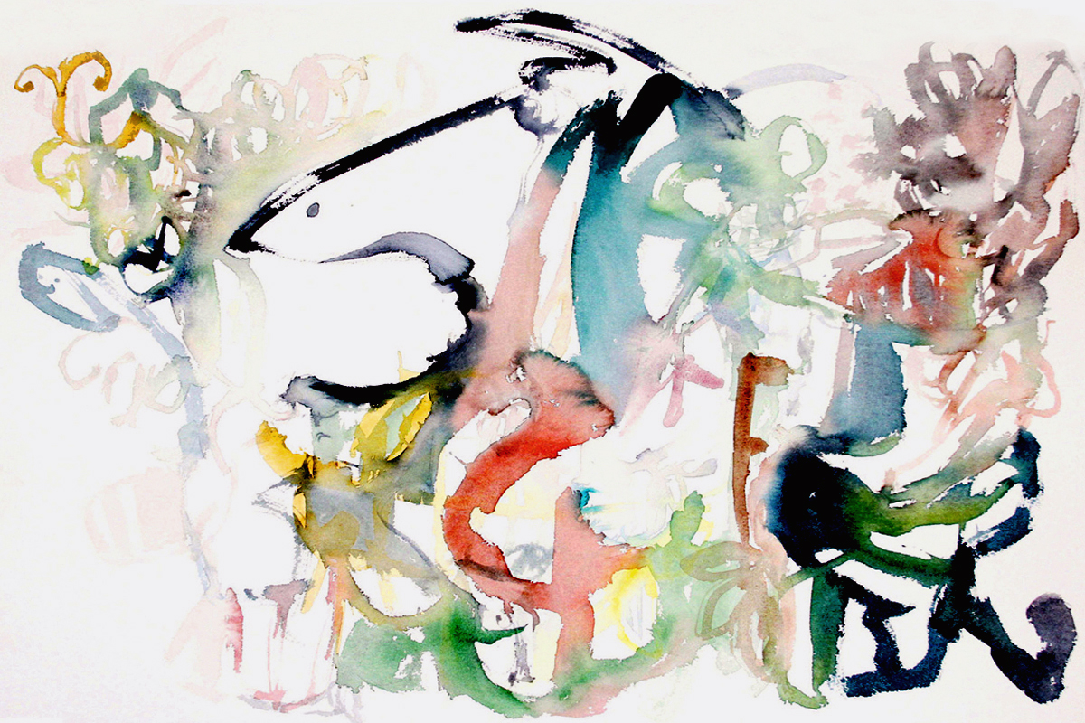 FLYING BY  Watercolor on Paper 22 x 30 inches (56 x 76 cm)