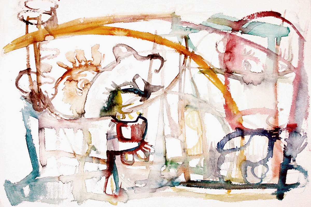 MOVE  Mixed Media on Paper 18 x 23.5 inches (46 x 60 cm)