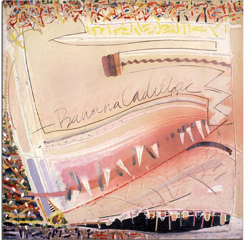 BANANA CADILLAC  Mixed Media on Canvas 53 x 58 inches (135 x 147 cm)