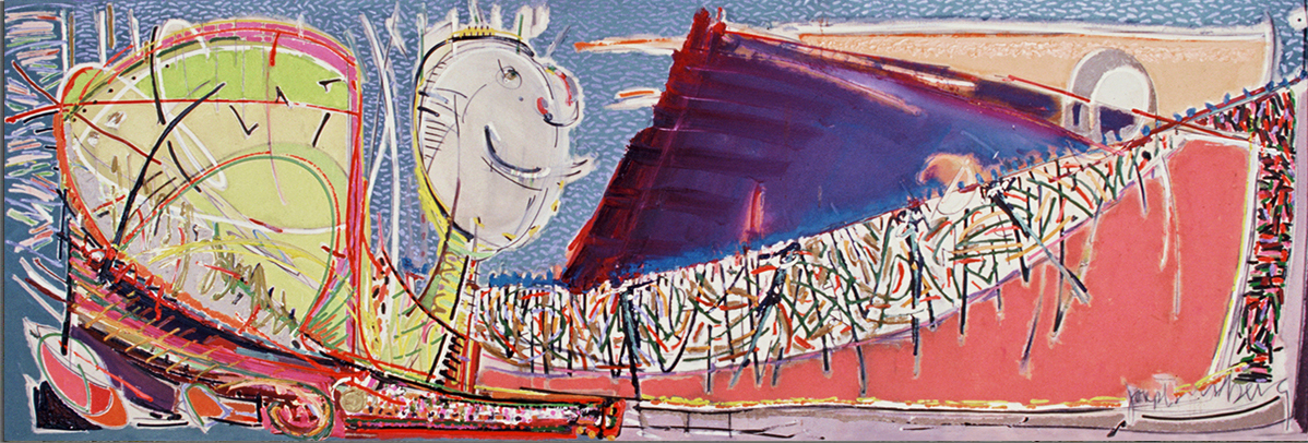 TABLES AND BRIDGES  Mixed Media on Canvas 48 x 132 inches (122 x 335 cm)