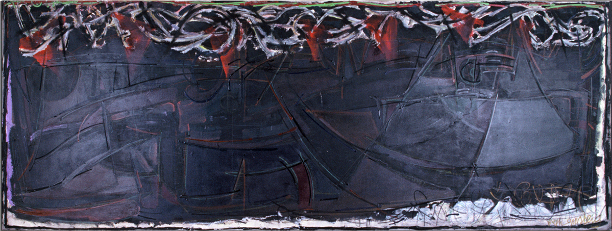 WAITING FOR UFO'S  Mixed Media on Canvas 48 x 132 inches (122 x 335 cm)