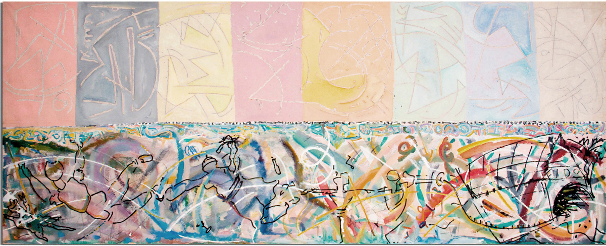 BOW HOUSE  Mixed Media on Canvas 55 x 138 inches (140 x 350 cm)