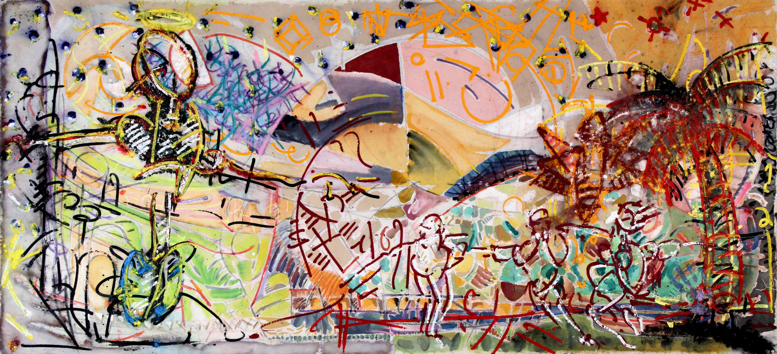 PARADISE LOST  Mixed Media on Canvas 45 x 91 inches (114 x 231 cm)