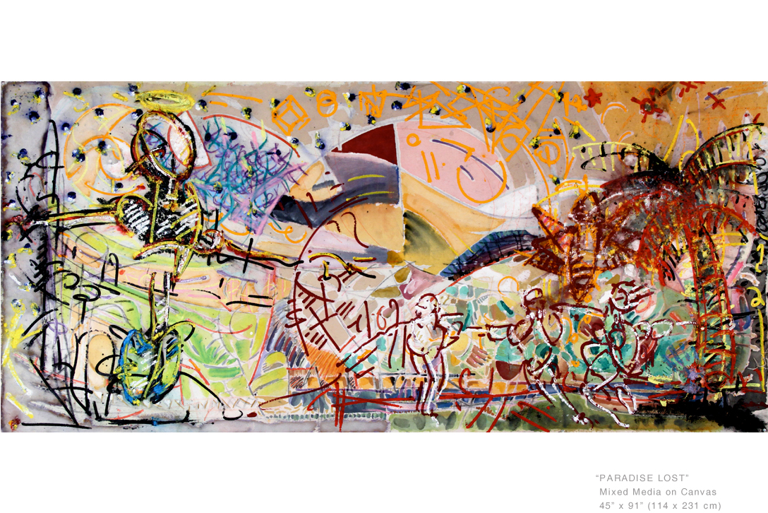 Playing off of the title, 'Paradise Lost' presents Manhattan as the setting for man's greatest folly. Graffiti style designs juxtaposed with abstract elements encourage the viewer to explore the connection between New York as a modern metropolis and the vices it houses.