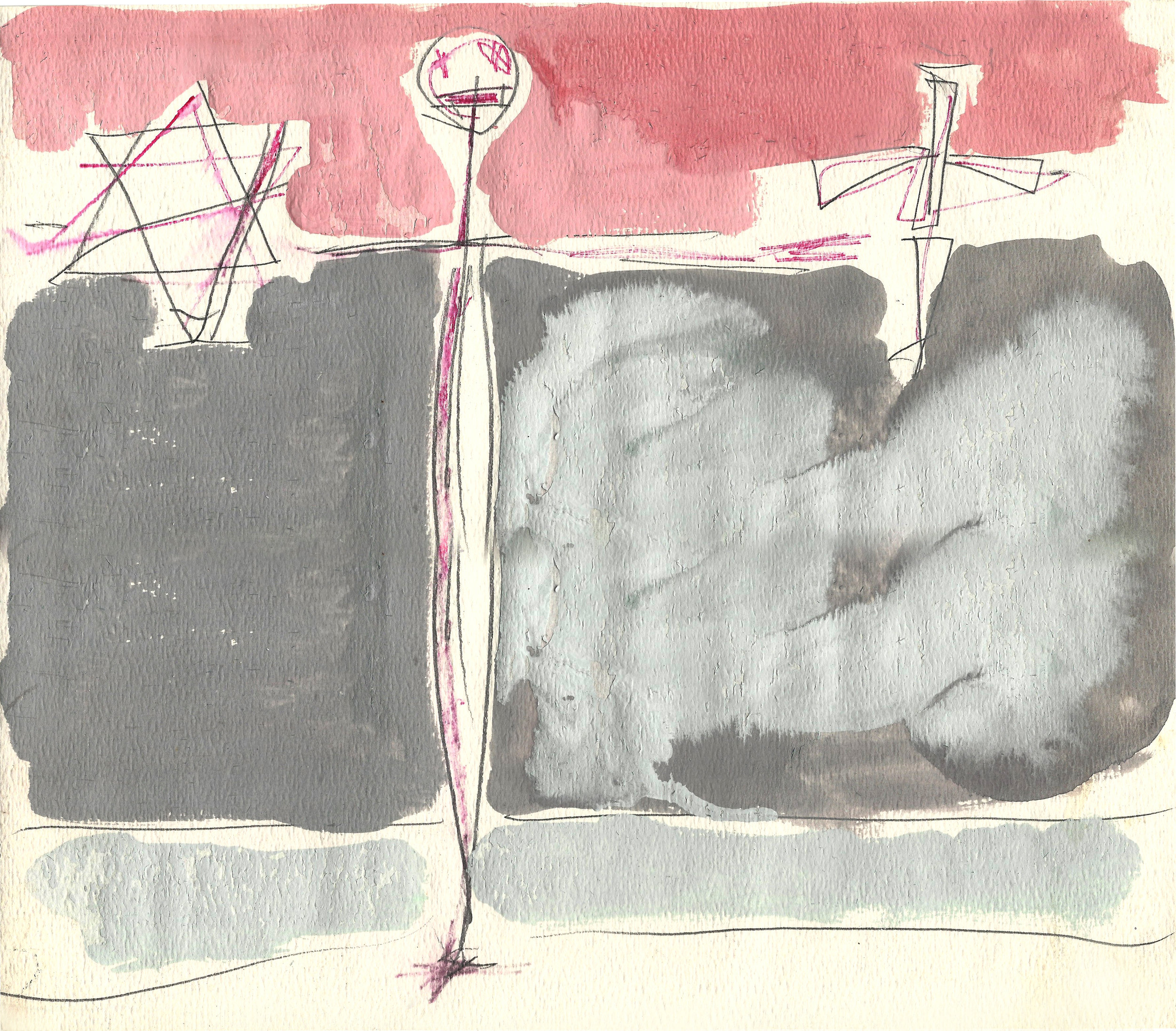 TESTAMENT  Mixed Media on Paper 10 x 12 inches (25 x 31 cm)