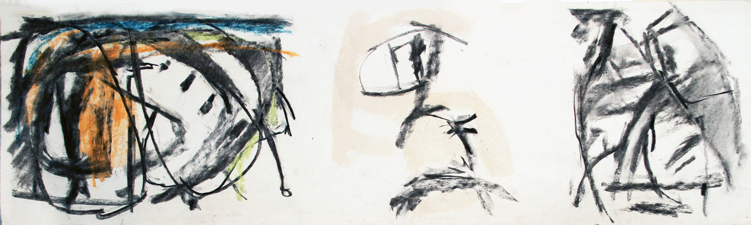 THE DARK SIDE OF THE MOON  Mixed Media on Paper 9 x 30 inches (23 x 76 cm)