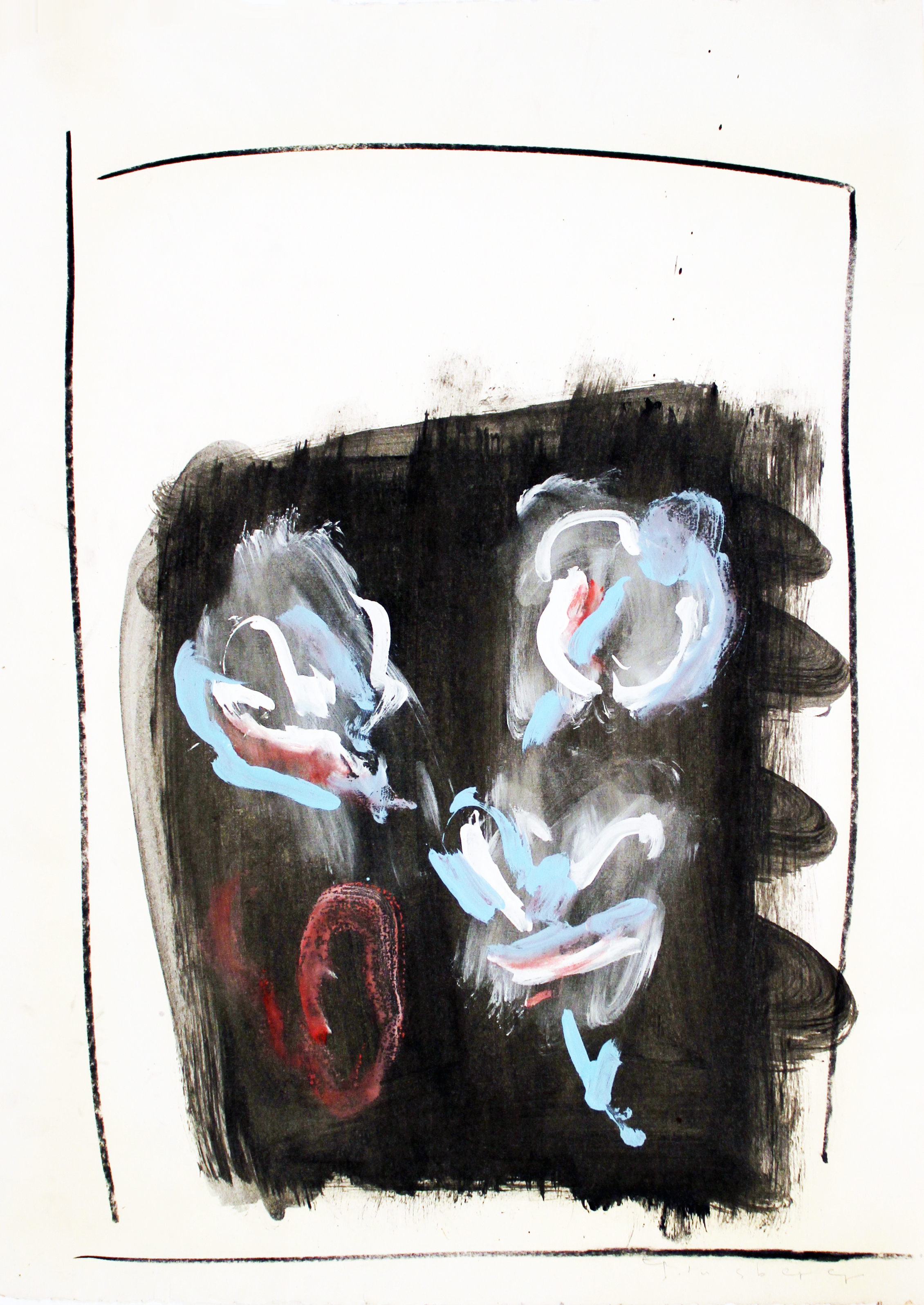 SQUARE FACE  Mixed Media on Paper 30 x 22 inches (76 x 56 cm)