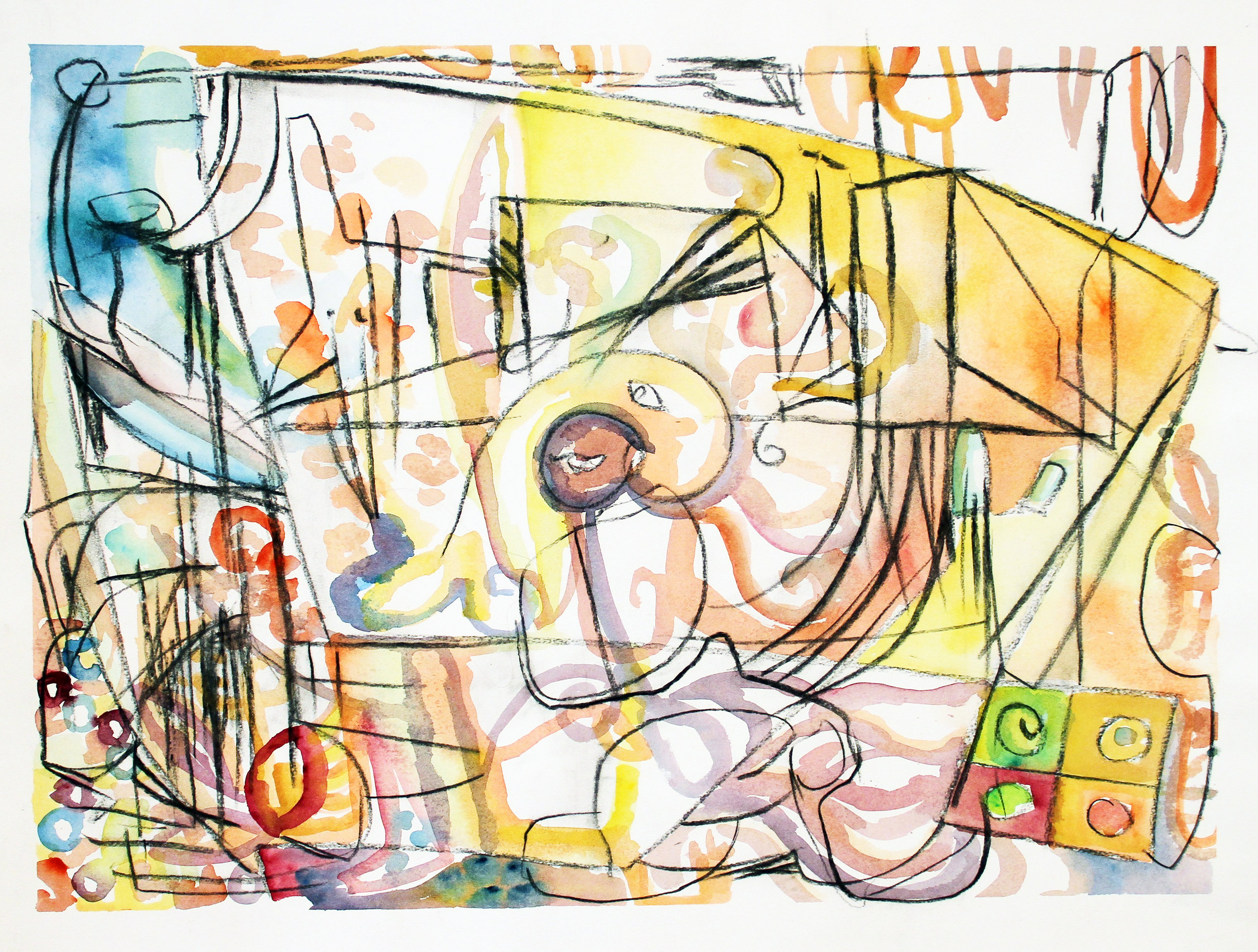 THE GAME IS ON  Mixed Media on Paper 23 x 20 inches (58 x 76 cm)