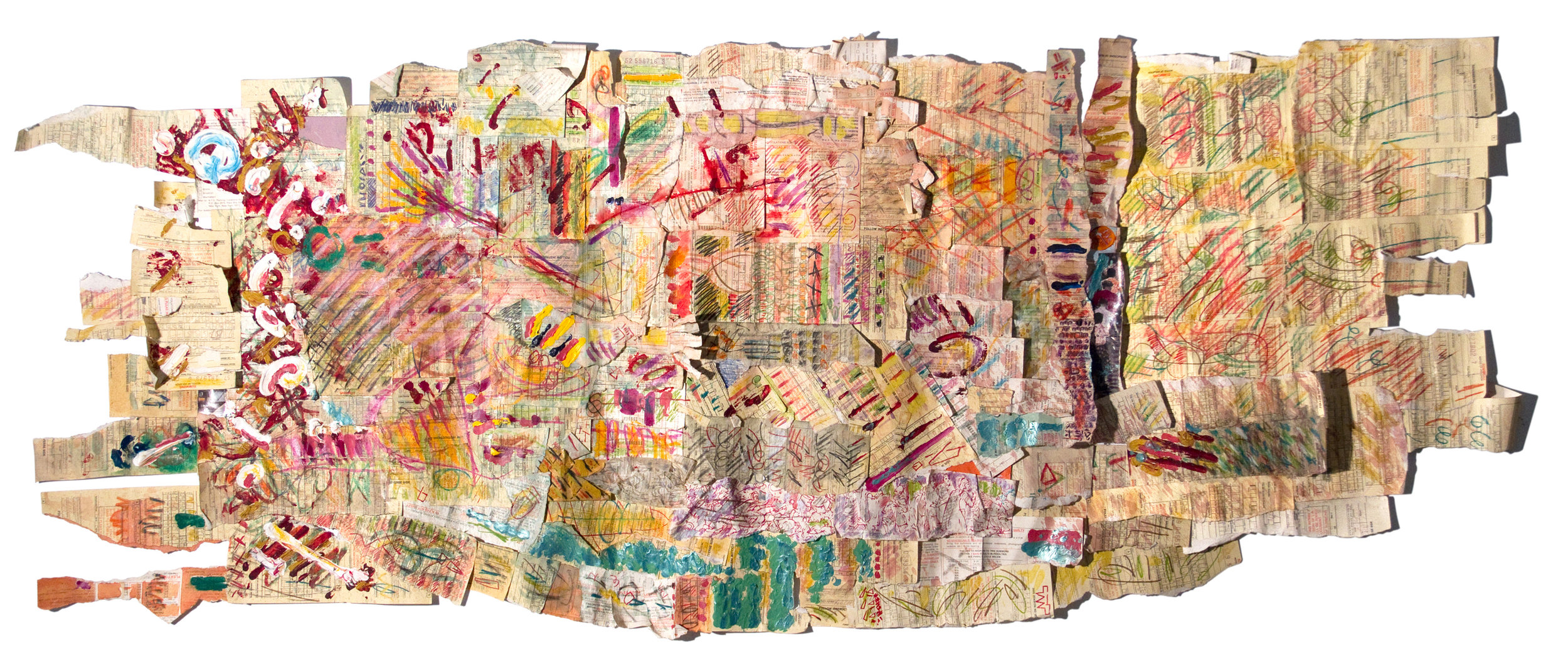 TAKE THE BUS  Mixed Media on NYC Parking Tickets 28 x 55 inches (71 x 140 cm)