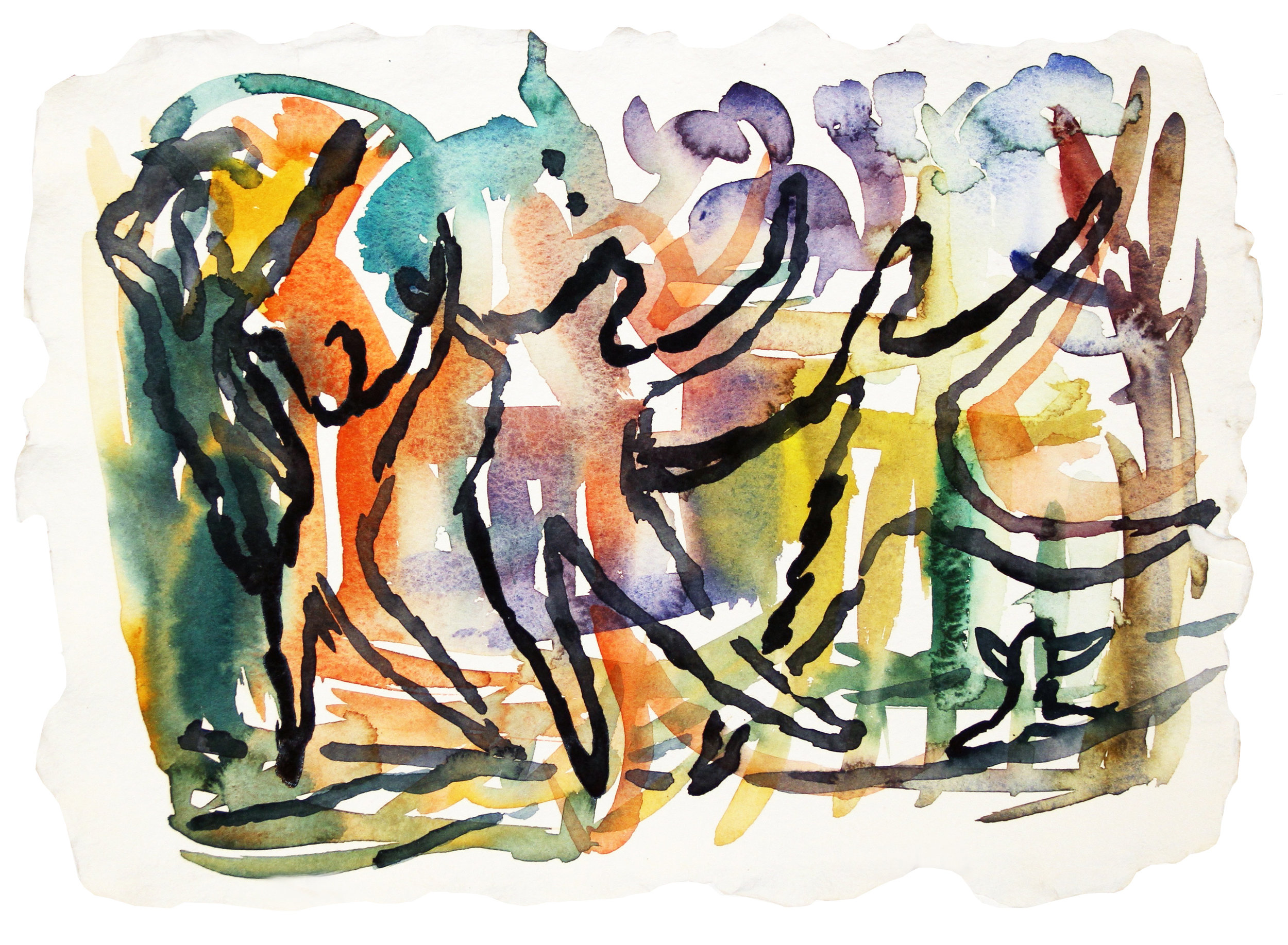 FIESTA  Watercolor on Paper 11 x 15 inches (28 x 35 cm)