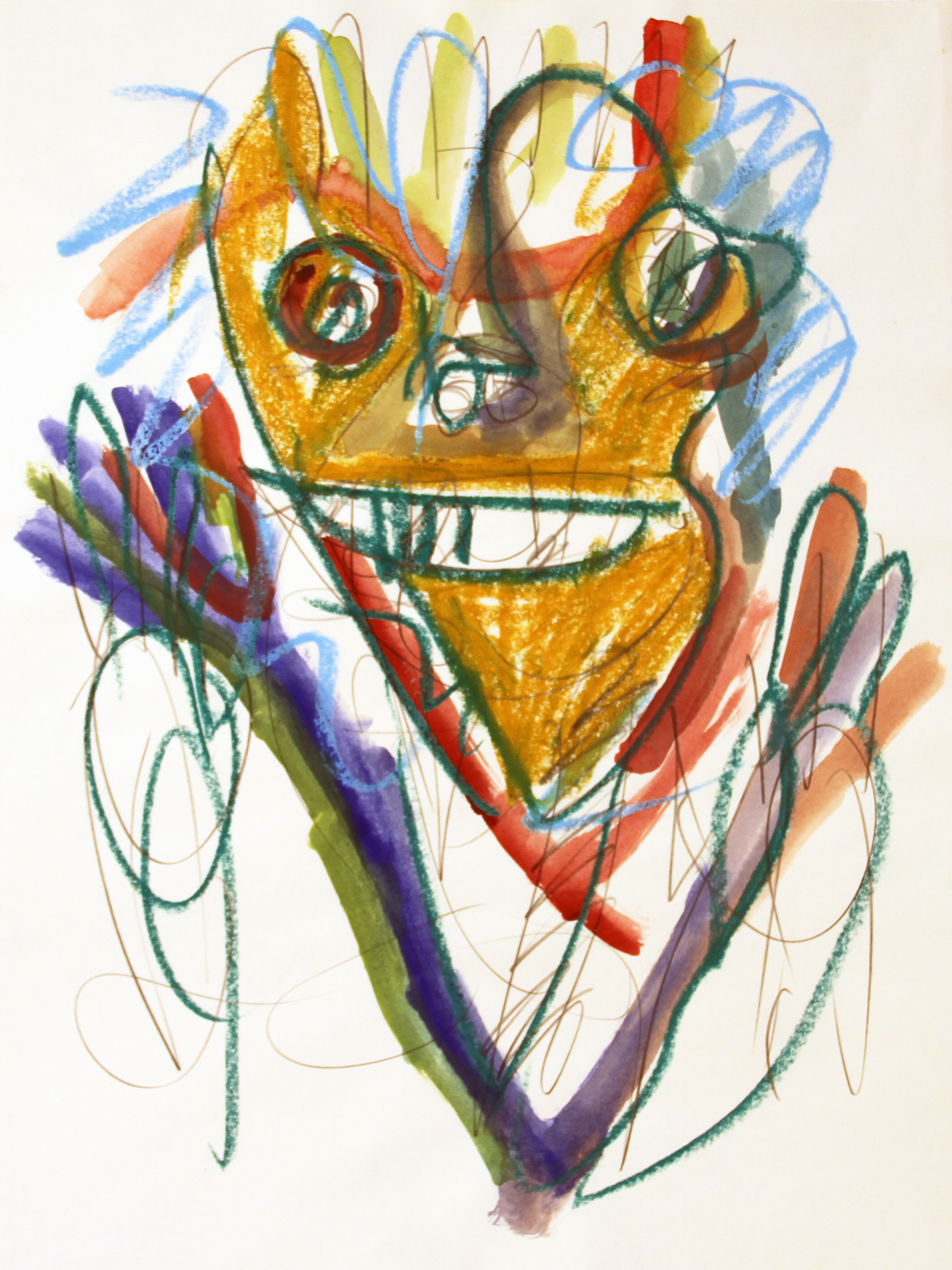 FROGMAN  Mixed Media on Paper 24 x 18 inches (61 x 46 cm)