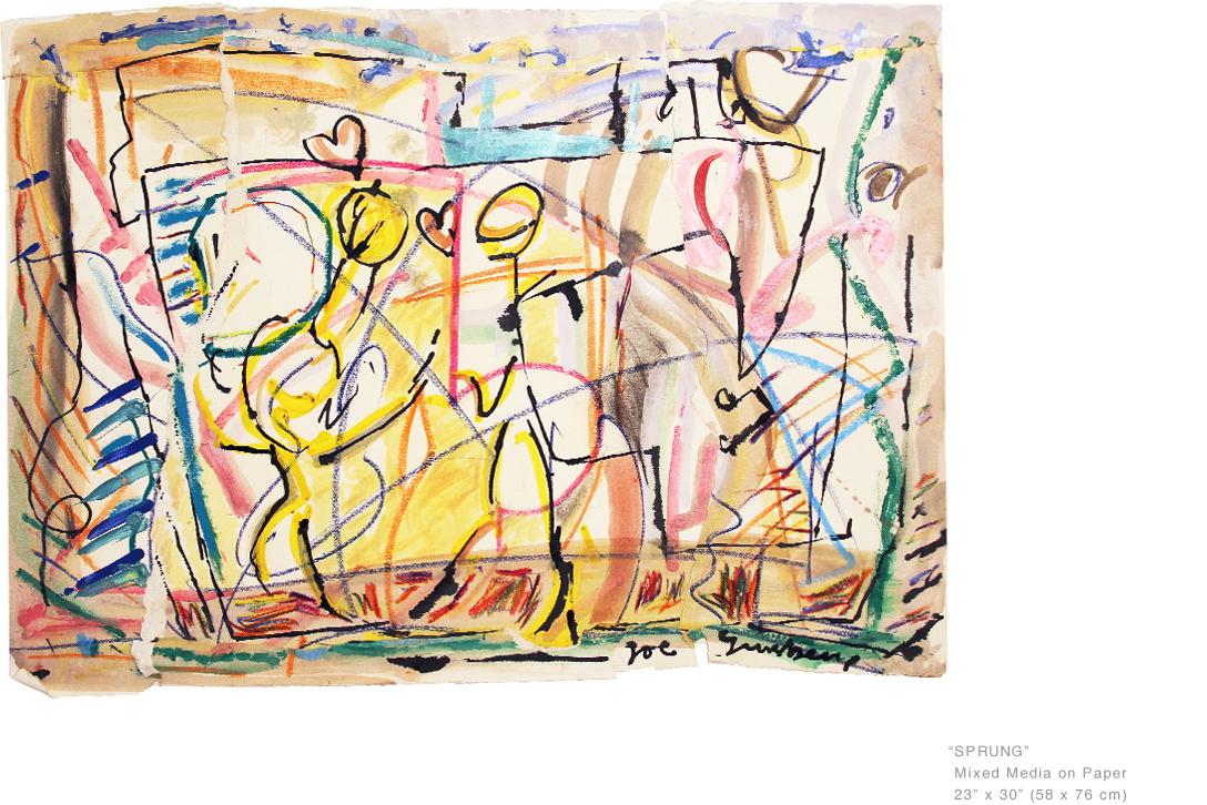 SprungMixedMediaOnPaper23x30inches-AcclaimedNYArtist-JoeGinsberg.jpg