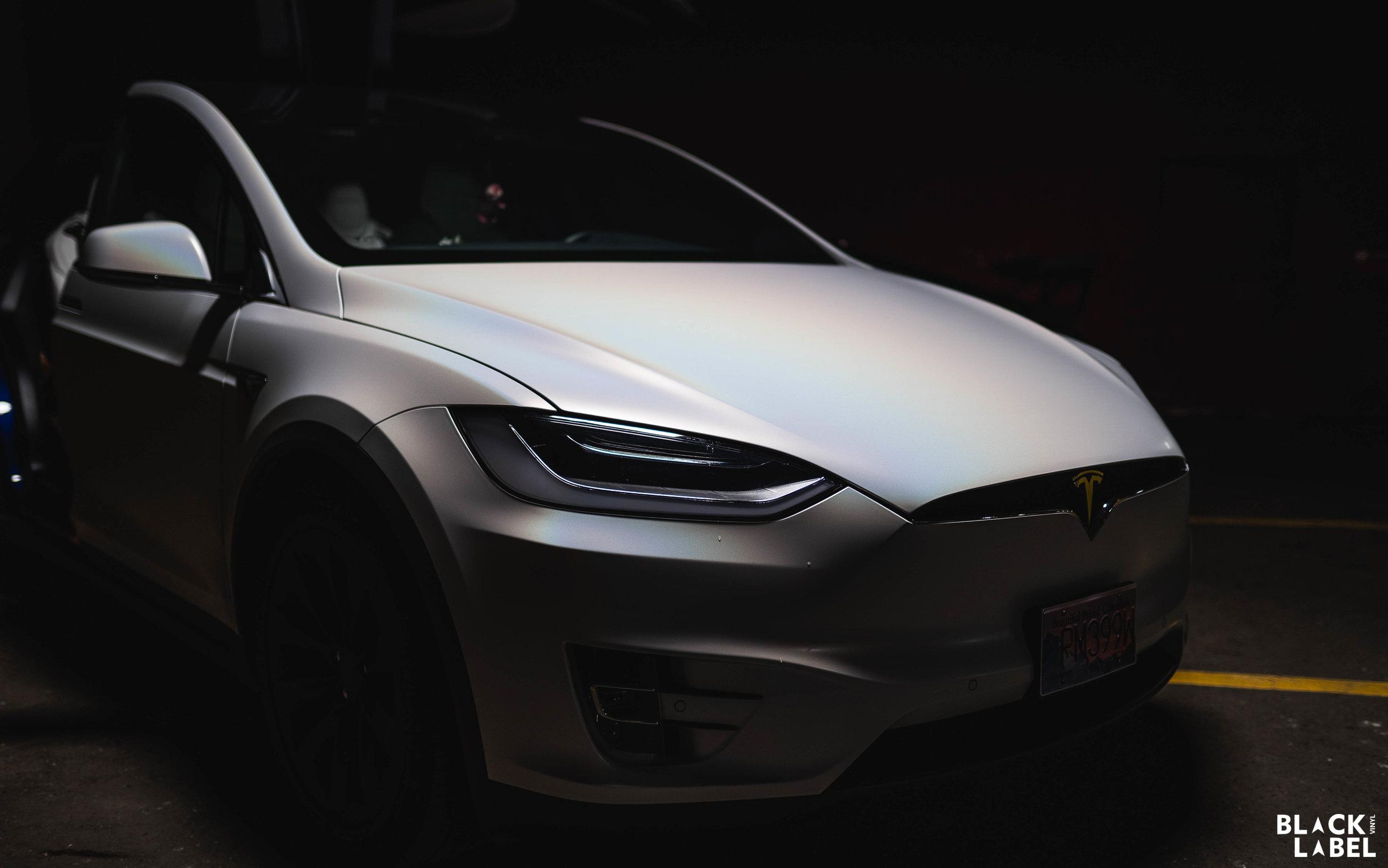 Tesla Model X Exterior Color Change in Satin Ghost Flip