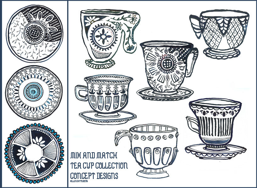 Tea Cup Collection Designs in Navy