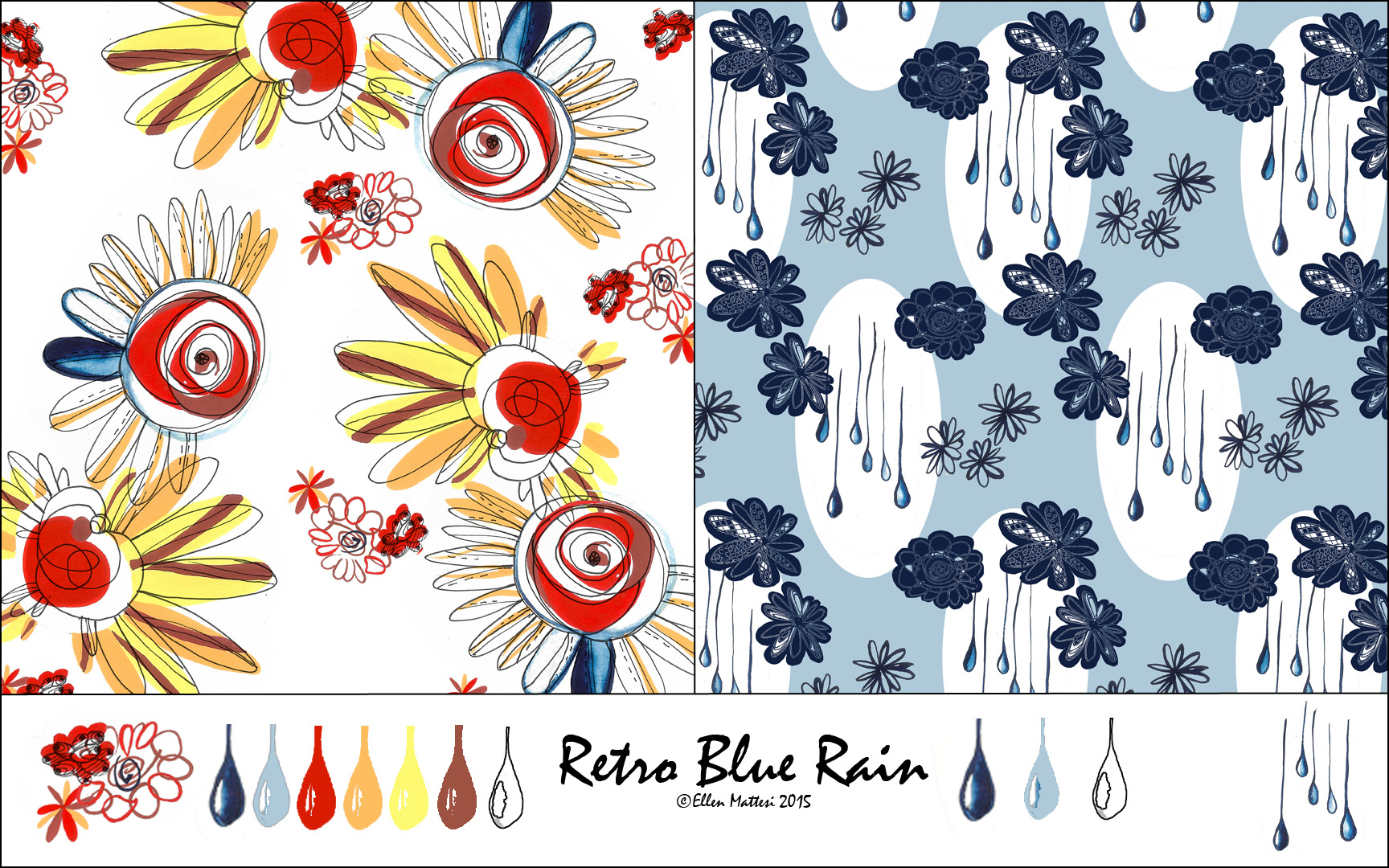 Retro Blue Rain Pattern