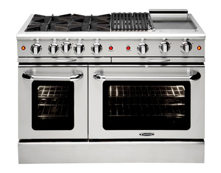 The Capital Culinarian 48-inch self-cleaning range. Ours has a third pair of burners in place of the grill.