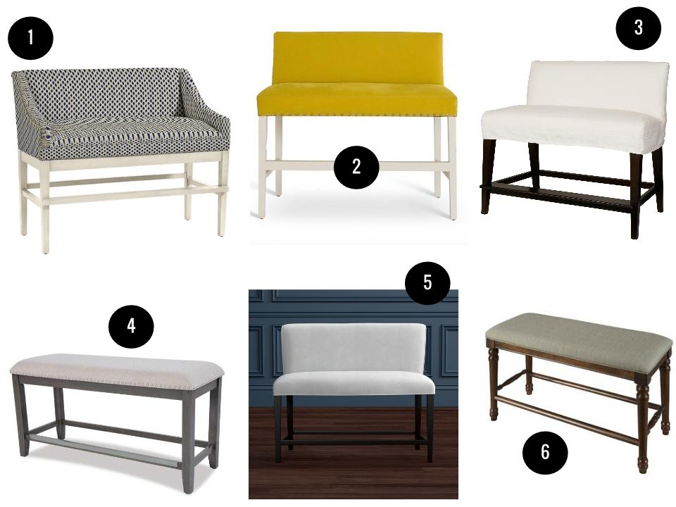 1. Marcello counter bench in Ellie Indigo, $724,  Ballard Designs . 2. Thibaut barstool in Cambridge Lemongrass, $2,030,  South of Market . 3. Mission slipcovered dual-seat counter bench, from $771,  Layla Grace . 4. Omaha gray counter bench,  Standard Furniture  for dealers. 5. Fitzgerald counter bench, from $1,395,  Williams-Sonoma Home . 6. Andover upholstered kitchen bench, $290,  Wayfair .
