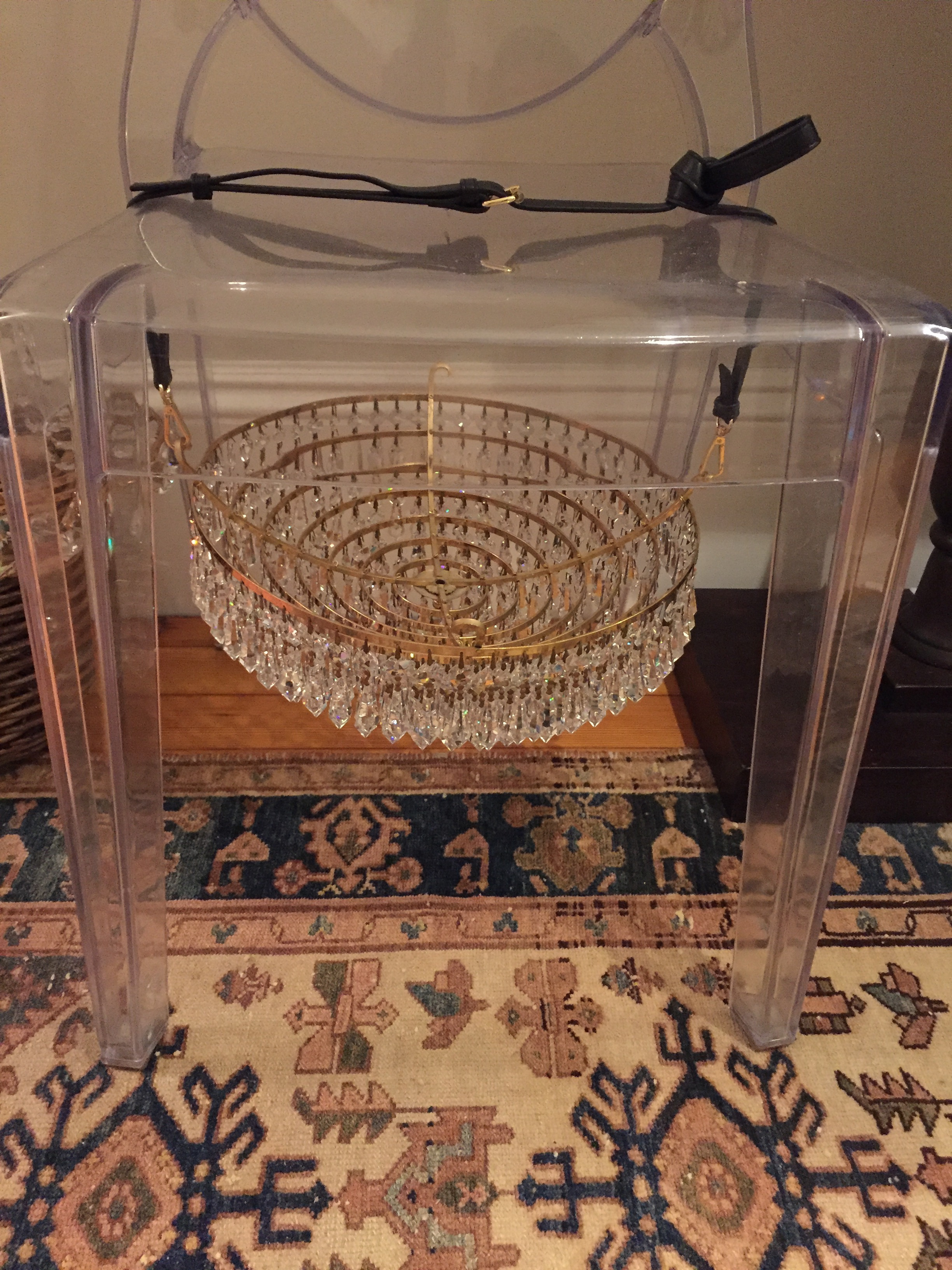 The basket of the chandelier after cleaning. You can see my jury-rigged chair setup here as well.