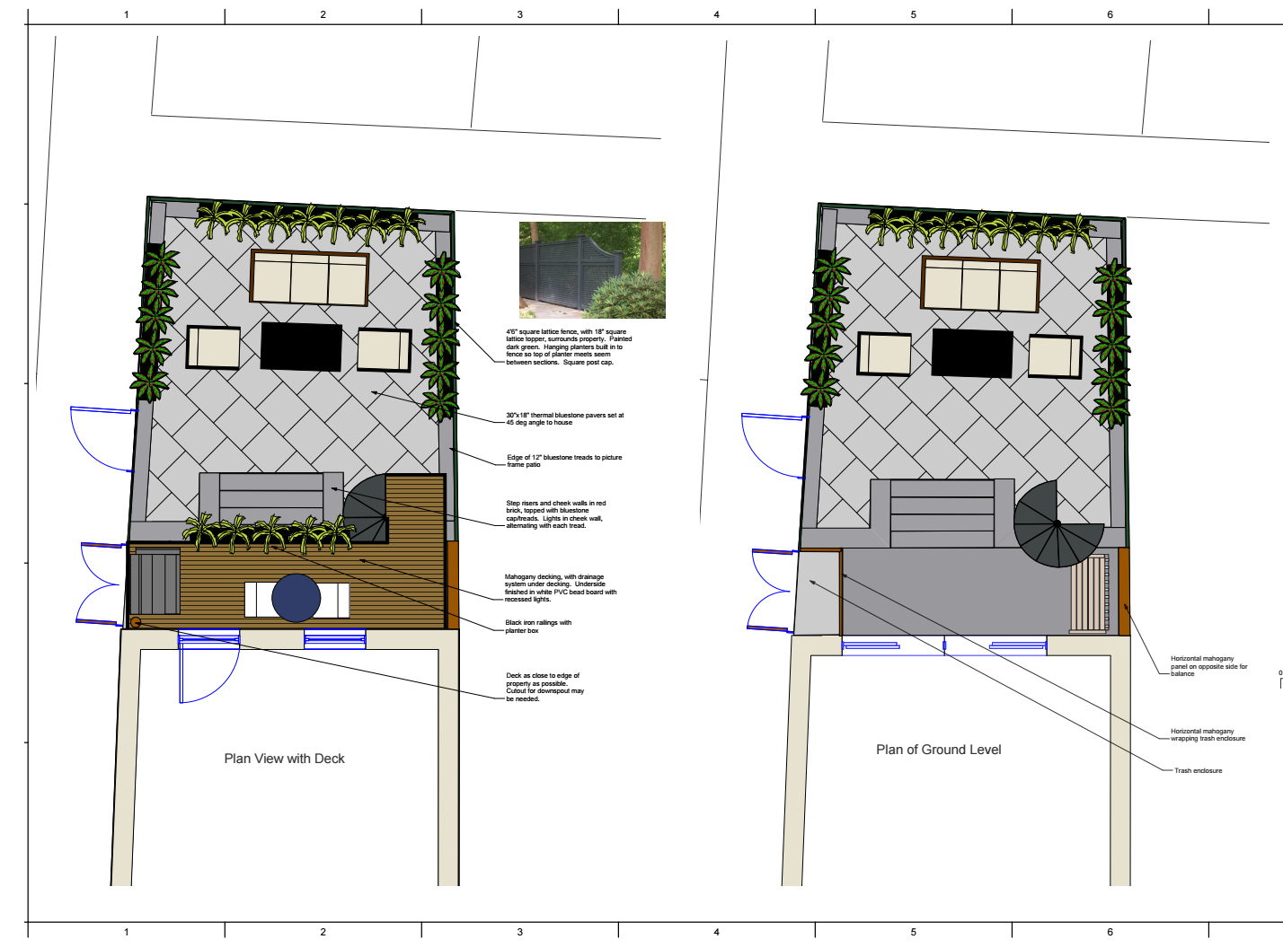 Aerial renderings of both levels, the balcony and the garden level.