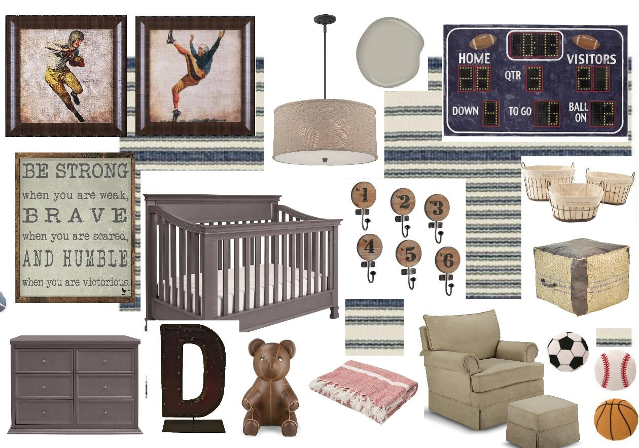 This mockup, which I created for reality-star and country singer Jessie James Decker's nursery, started with the framed vintage-sports prints.  See the resulting room here on People.com .