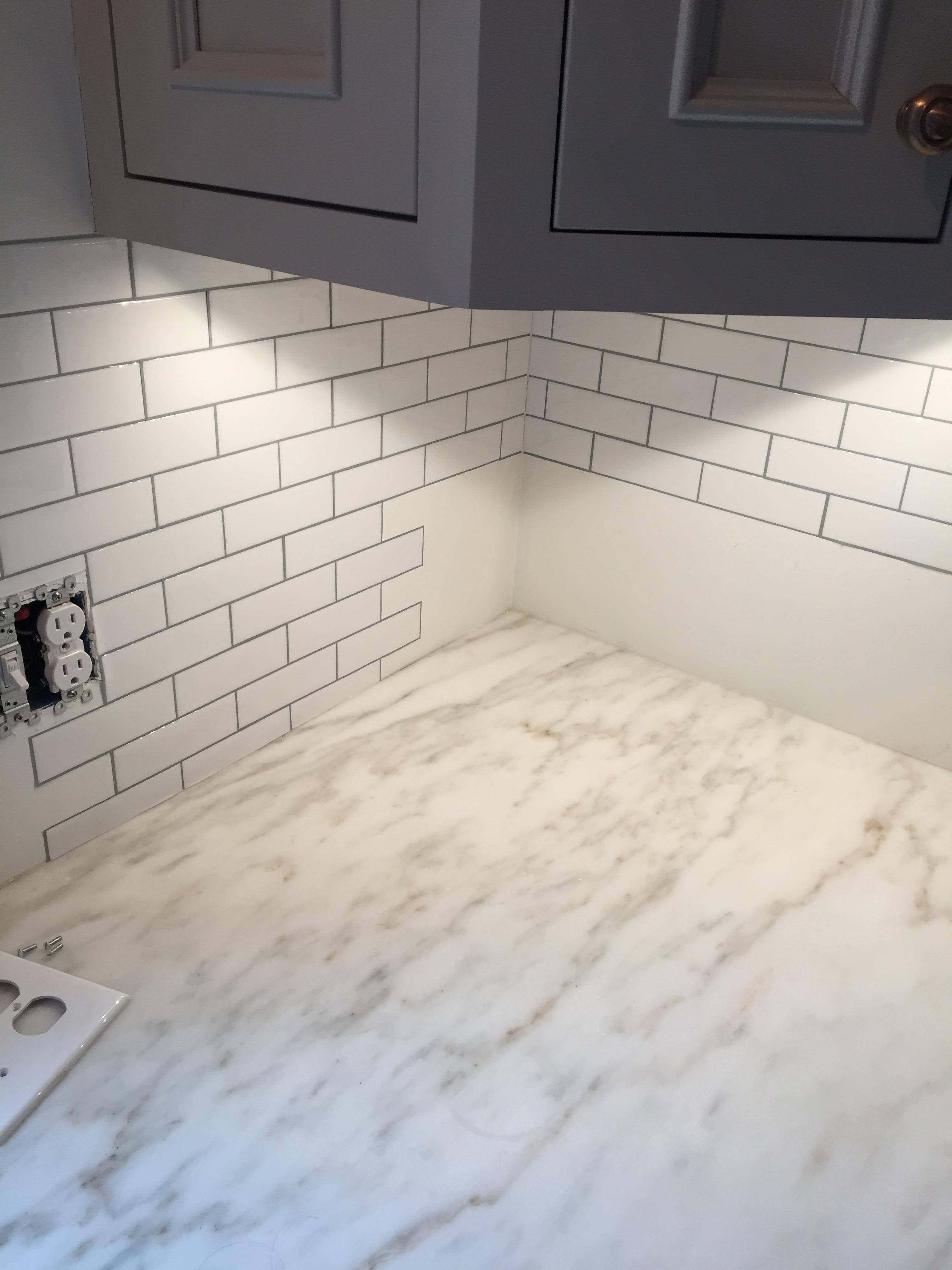 Tile backsplash in place