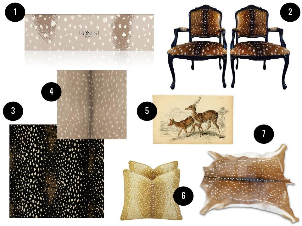 1. Honest Beauty Everything makeup palette, $35,  Ulta . 2. French Axis deer arm chairs, $2,195 for two,  Chairish . 3. Antilocarpa carpet, price on request,  Stark . 4. Fawn wallpaper, $3/sq. ft., Wayfair . 5. 1838 spotted Axis deer print, $35,  Etsy .6. Velvet fawn spot pillows, $429 for two,  Chairish . 7. Axis deer hide, $309,  Etsy .