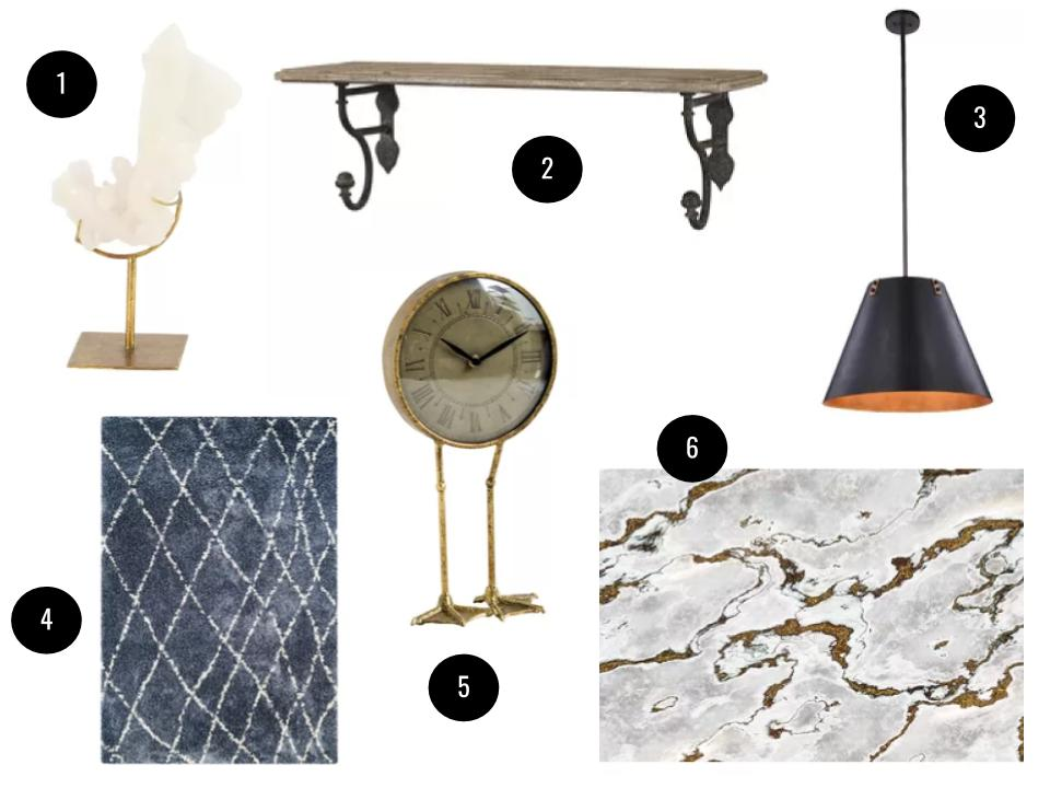 1. Condon crystal sculpture, $44. 2. Dunand shelf, $108. 3. Fayme 3-light pendant, $280. 4. Arona blue/snow area rug, starting at $52. 5. Duck legs desk clock, $90. 6. Komar Marmoro wall mural, $120. All available in my exclusive curated sale on  Joss & Main .