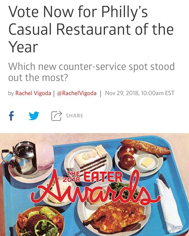 @redcrestfriedchicken has been nominated for Best Casual Restaurant of the Year in #Philadelphia  Head to philly.eater.com and cast your vote before 10am Friday 12/30!