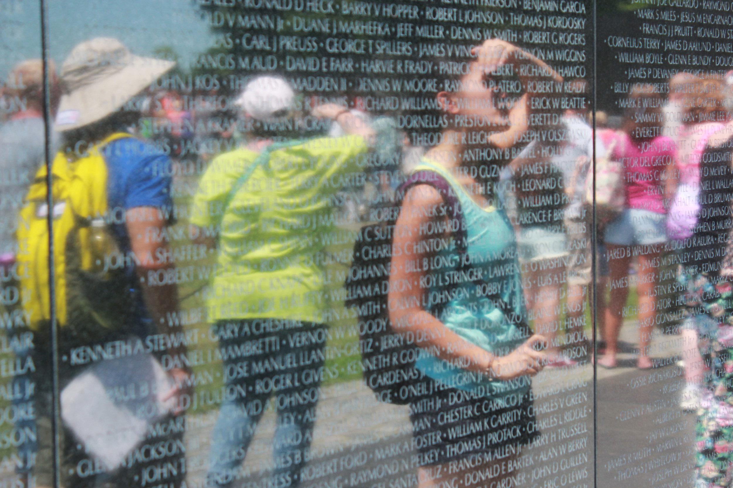 Jacqueline observing the Vietnam War Veterans Memorial.