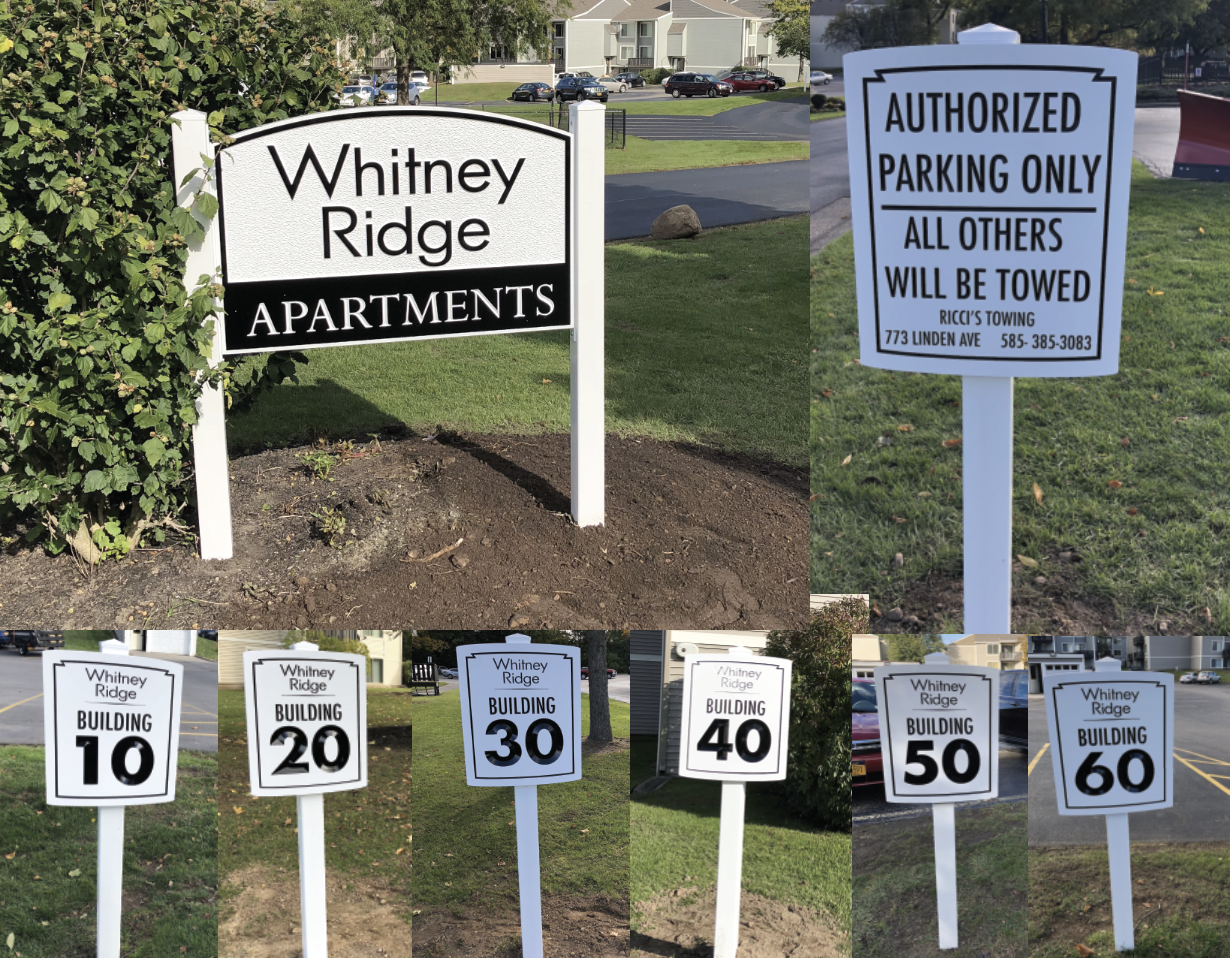 Apartment Complex High Density Urethane Carved Signage