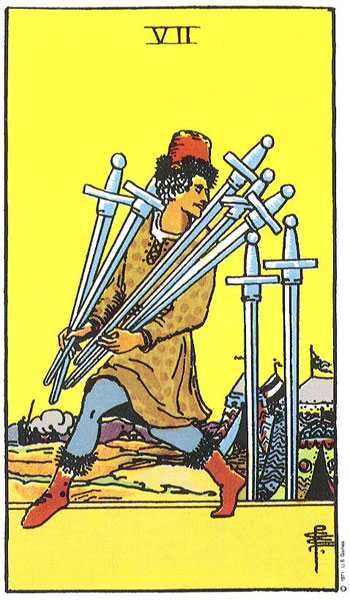 seven of swords, tarot cards, rider waite tarot, the kitten life astrology