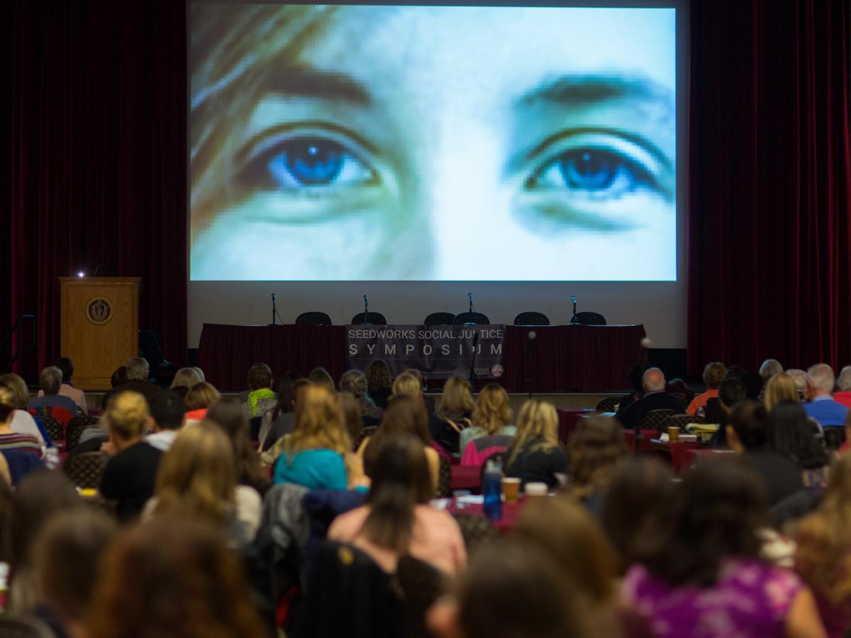 The first Seedworks Social Justice Symposium at UMass Amherst in Fall, 2015. The digital stories created in the first social justice digital storytelling workshop at UMass were screened at this event.