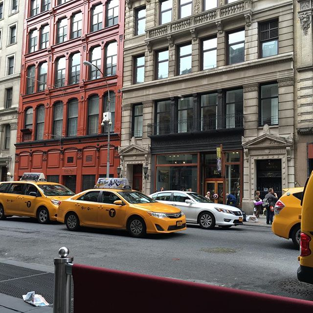 """...taxis race by..."" (Bicoastal Girls -  Kathy Sanders)"
