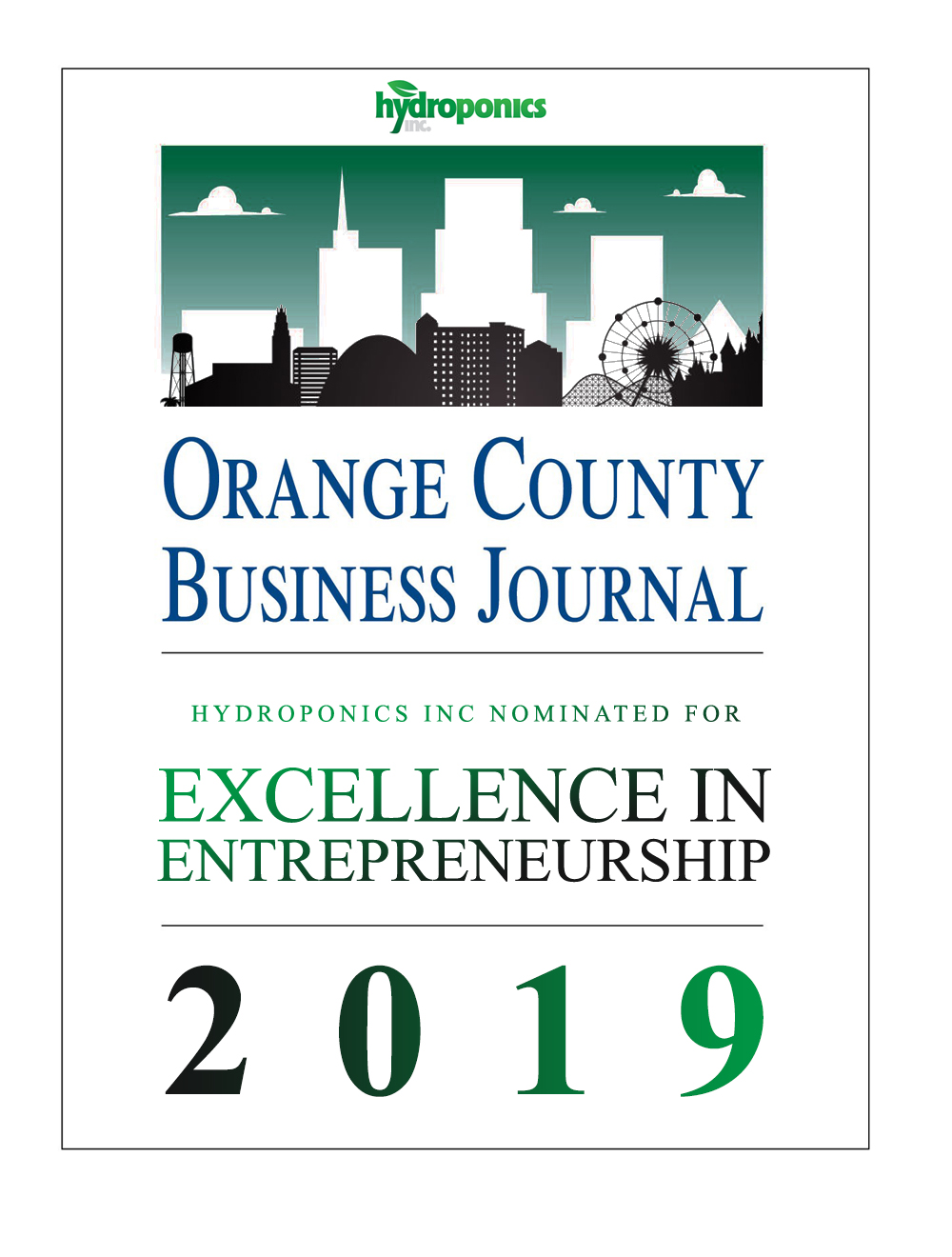 Hydroponics Inc is proud to be nominated in this years  @ocbizjournal  for Excellence in Entrepreneurship.  We want to thank all of our customers who have helped us grow to the company we are today. Thank you to our staff that continue to carry on our culture.  Teamwork makes the dream work! CONGRATS TO ALL OF THE NOMINEES!