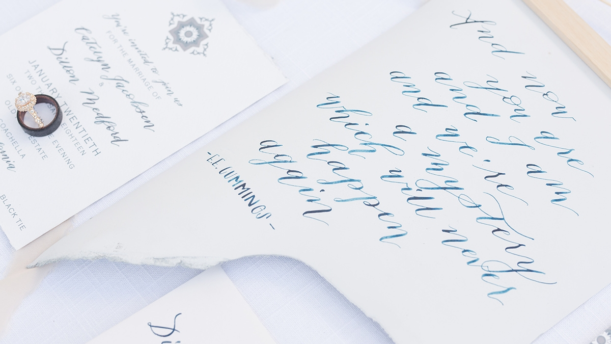 calligraphy: Design to Flourish // photography: Carrie McGuire Photography // stationery: Meldeen Ink