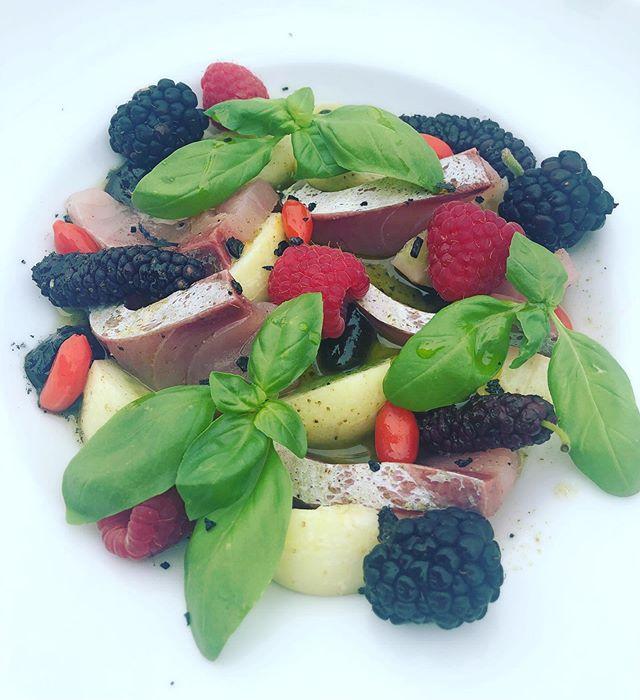 Local yellowtail crudo with lemon cucumbers, Goji berries, raspberries, blackberries and lemon verbena vinaigrette . . . . . . . . #foodie #foodiesofinstagram #instafood #instagood #eat #sandiegofoodblogger #sandiegofoodbloggers #youstayhungrysd #sandiegofood #sdfoodies #sdfoodie #foodofsandiego #foodsandiego #eatstagram #eatersandiego #sandiegoeats #sandiegoeater #zagat #foodstagram #foodgrammers #foodiesofig #chefsroll #newdish #chefs_eye #theartofplating #wildchefs #chefsofinstagram #instachef #cheflife #mystorywithmichelin
