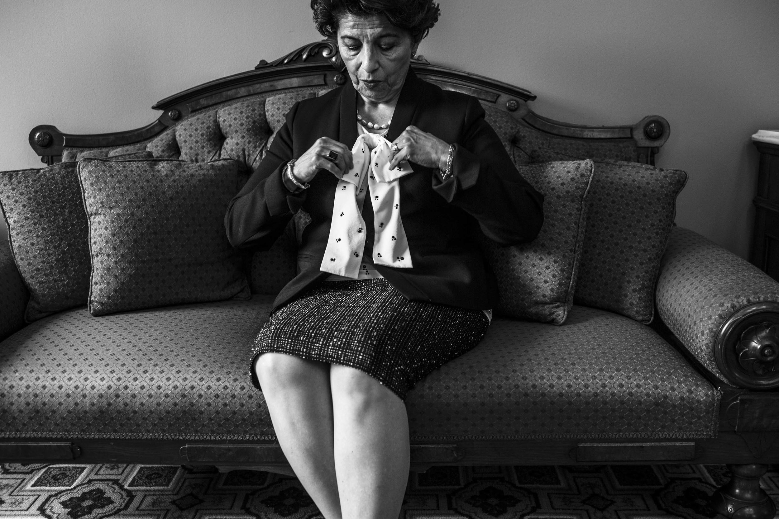 US Treasurer Jovita Carranza prepares for a photo shoot in her office in Washington, DC.