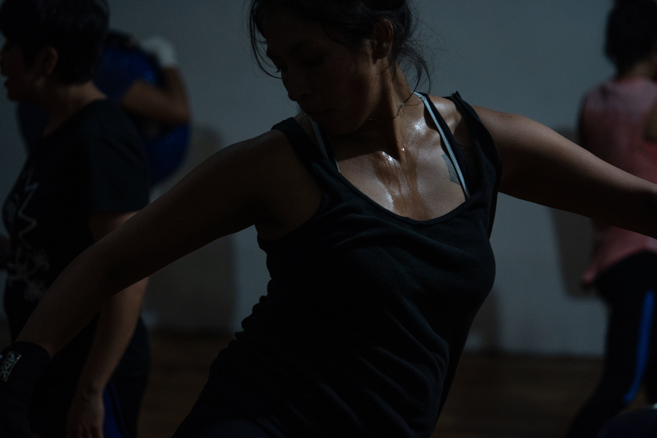 A woman takes part in La Ruda self-defense class in Mexico City in March, 2019.