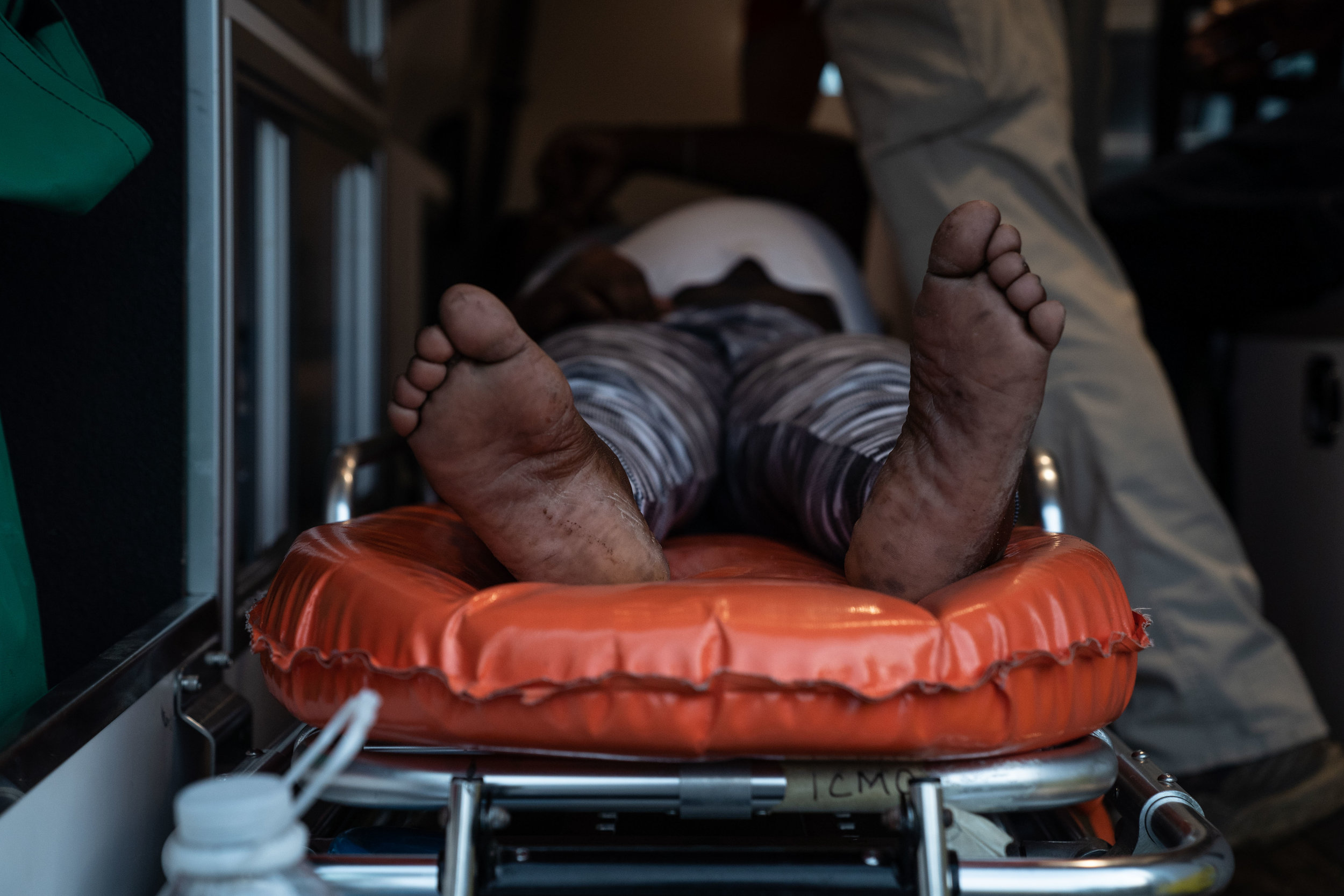 An African migrant in labor waits to be taken to a hospital in Tapachula, Mexico in June, 2019.