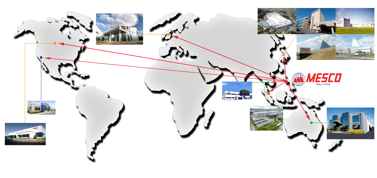 mesco manufacturing exports to six countries: usa, uk, japan, SIngapore, thailand, and australia.
