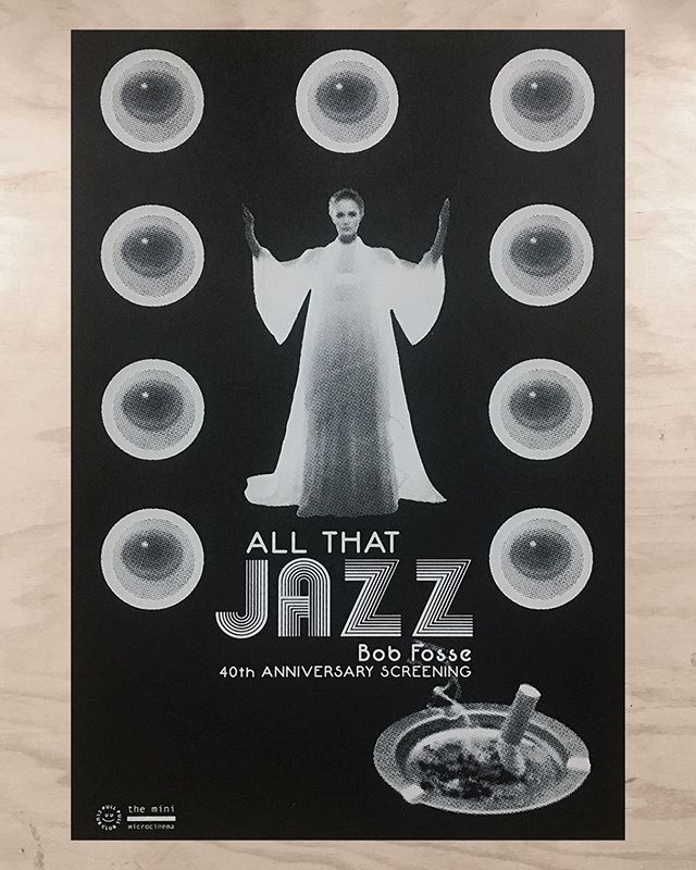 "TONIGHT the @minimicrocinema is having a 40th anniversary screening of Bob Fosse's, ""All That Jazz"". We had the pleasure of designing + printing this limited edition poster that you can purchase for $20 at the show. Doors at 7pm  Show starts at 7:30pm Drinks/Snacks by Liz Wolf"