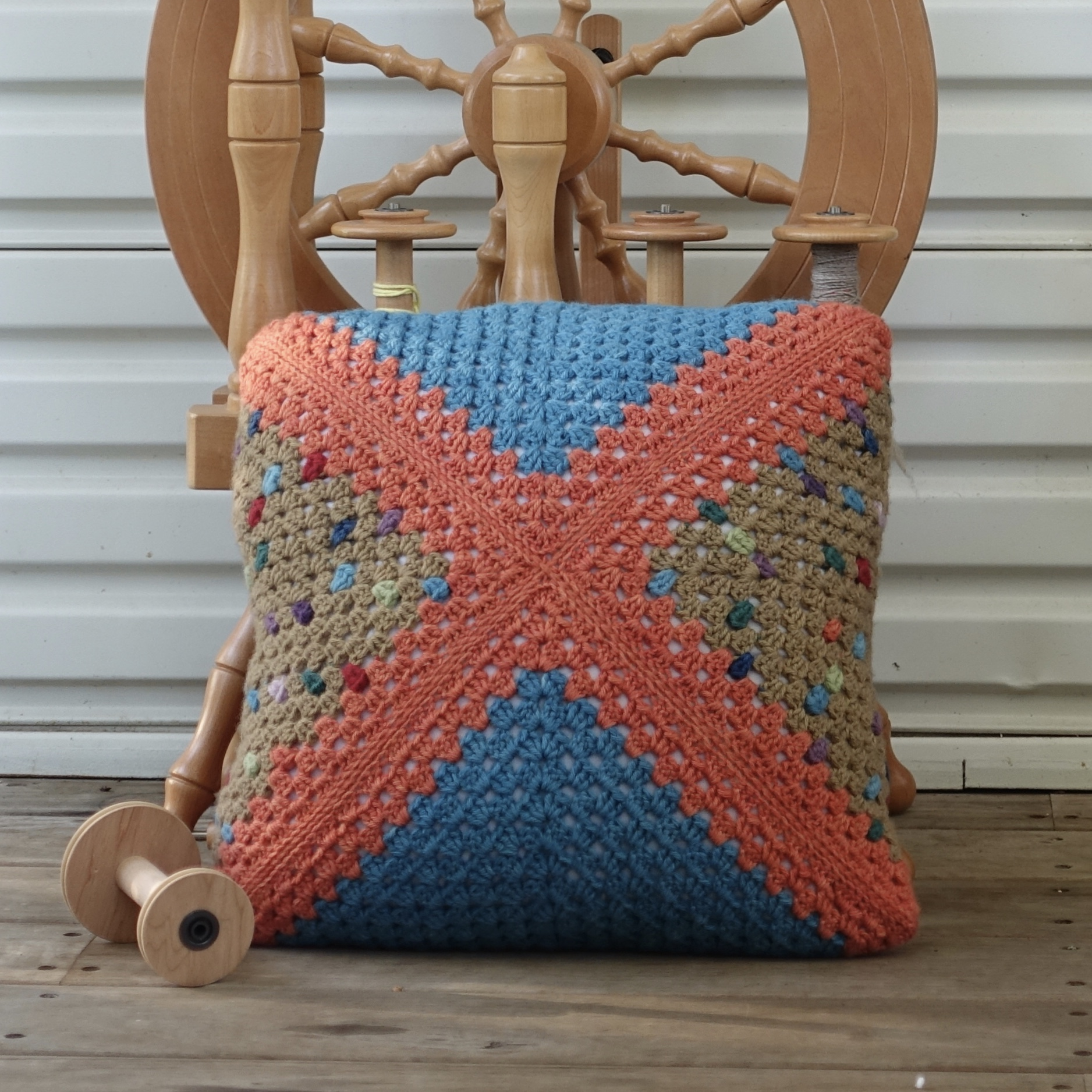 Granny Square Cushion with a Twist