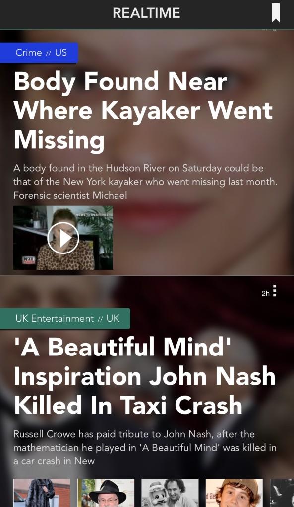 Una captura de Realtime, la aplicación para leer The Huffington Post.