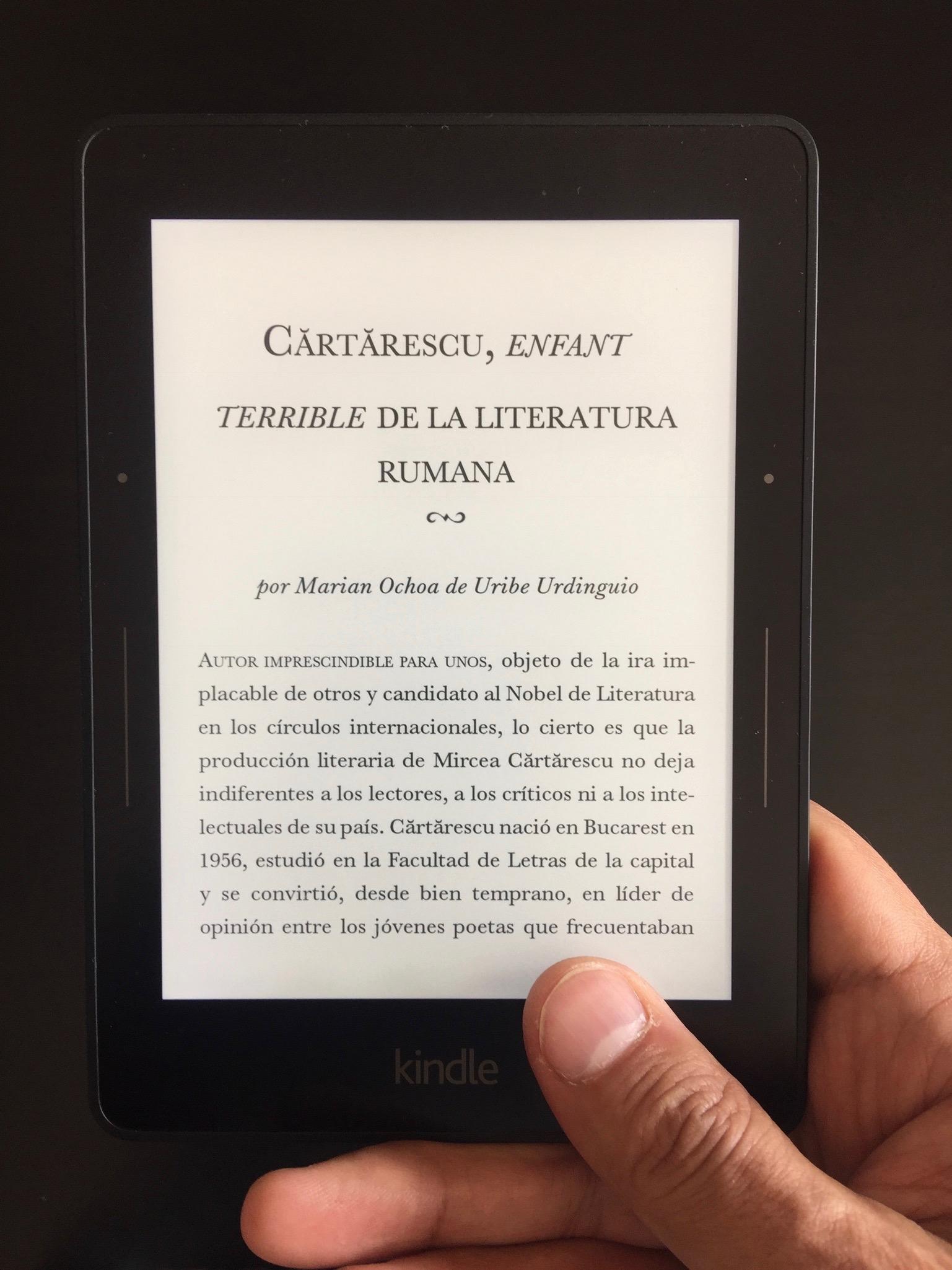 Claro, cómodo y liviano. Así se lee en el Kindle.
