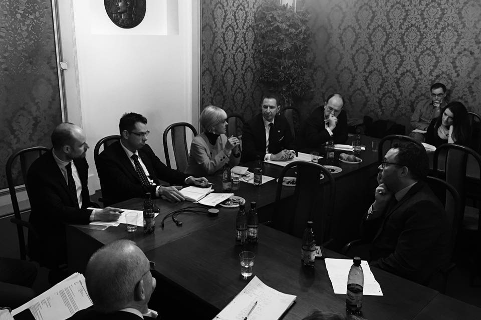 Brexit panel discussion, 12/1/2017. From left: Vladimír Bilčík, Jakub Wisniewski, Baroness Hayter, Andrew Garth, Miroslav Wlachovský