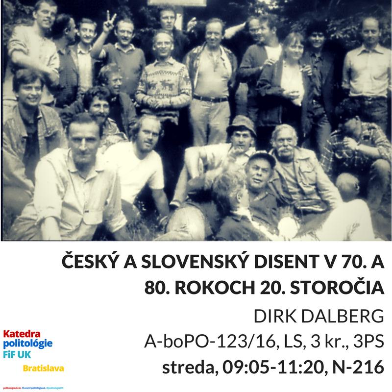 Československý disent v 80. rokoch 20. storočia (textový seminár), výberový kurz, streda 9:05-11:20, N-216, zápis do AIS2 od 20/2, prvý seminár 1/3