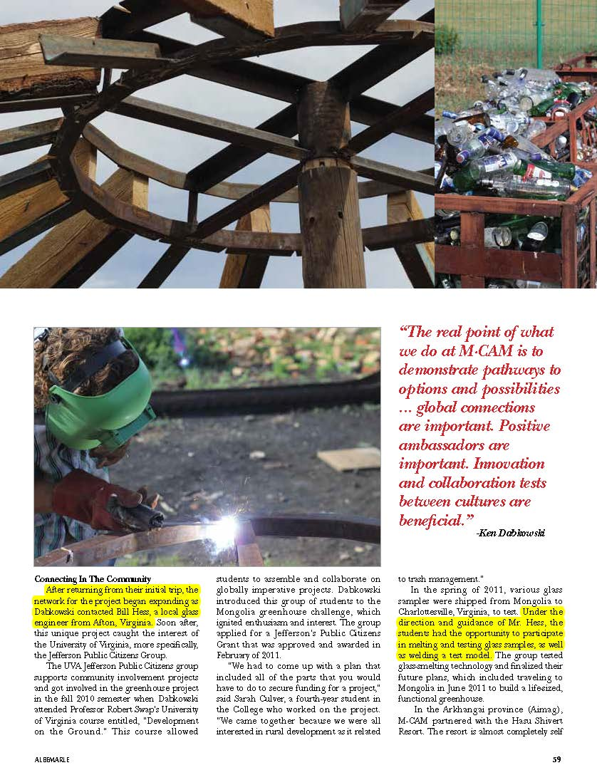 Bill Hess featured recycled glass consultant for Mongolian greenhouse-Albermarle Magazine_Page_2.jpg