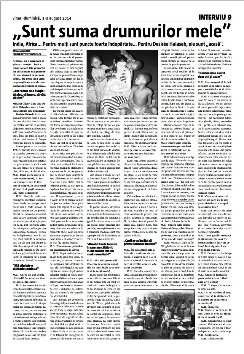 Sunt suma drumurilor mele, Monitorul de Cluj, 2014